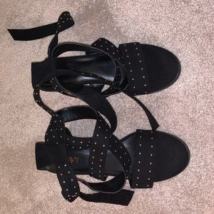 Black Studded Tie-Up Heels